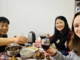 Student Abbi with her Homestay in Beihai