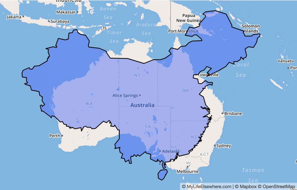 How Big is China vs Australia - Bigger!