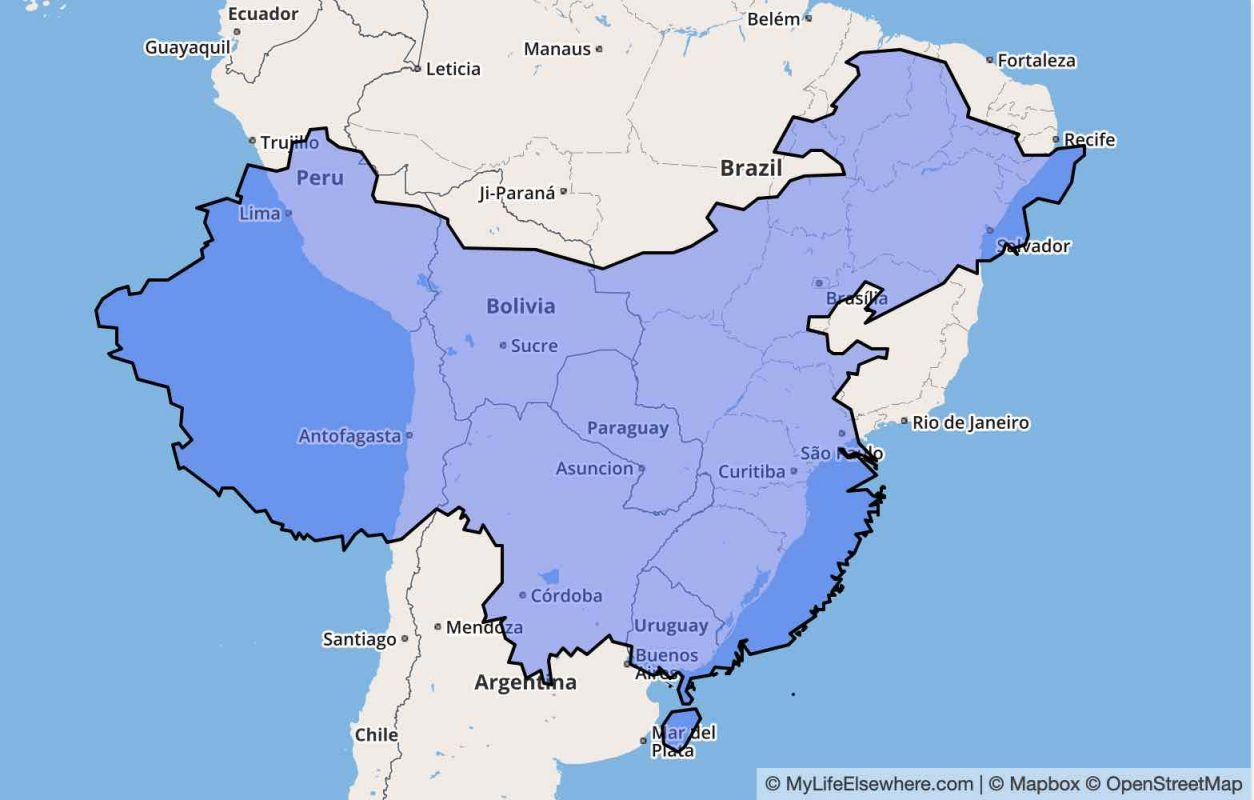 How Big is China vs South America